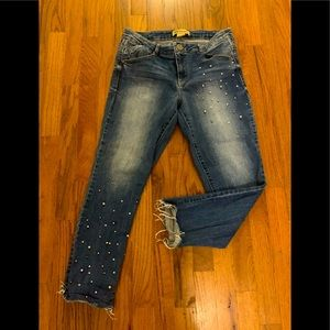 Democracy crop beaded jeans, size 8